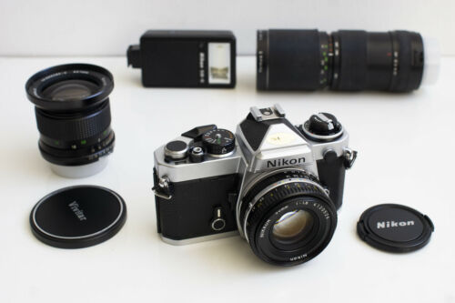 Nikon FE with Nikkor 50mm 1.8 + 2 extra lenses / Serviced / 35mm Film Camera