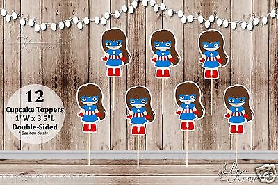 Set of 12 Girl Captain America Action Superhero Double Sided Cupcake - Captain America Cupcake Toppers