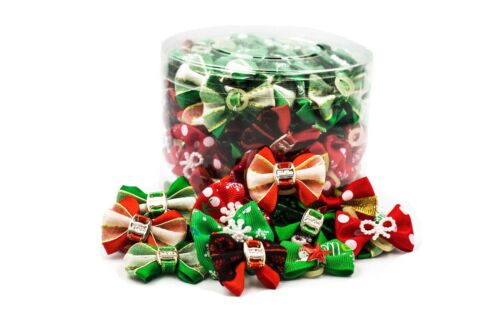Holiday Christmas Dog & Puppy Bows Canister of 100 pieces - Grooming Snowflake..