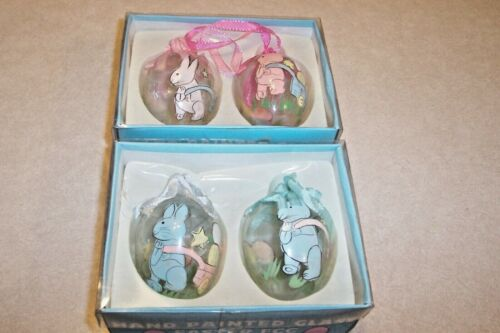 Vintage Hand Painted Glass Easter Egg Tree Ornaments Decor w/ Bunny & Eggs Box