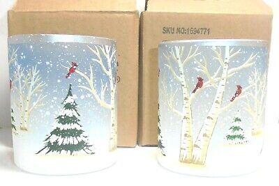 Yankee Candle Set of 2 PINES AND BIRCH Crackle Glass Votive Holders - Free Ship