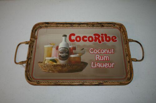 Vtg HTF CocoRibe Coconut Rum Ratan Tiki Bar Advertising Sign Mirror Serving Tray