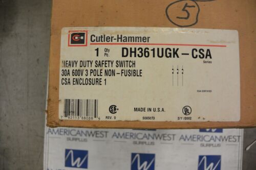 CUTLER HAMMER DH361UGK-CSA 3P 600V 30 AMP NON FUSED DISCONNECT SWITCH - NEW