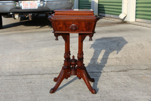 Fabulous Ornate Burl Walnut Victorian Sewing Stand with Pagoda Top ~ Ca.1870