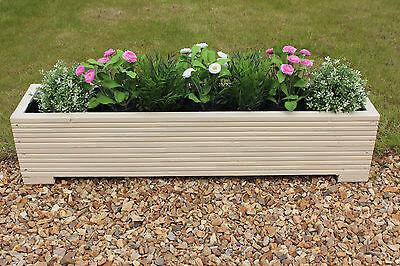 Cream 100x22x23 (cm) Wooden Garden Trough Planter or Plant Pots