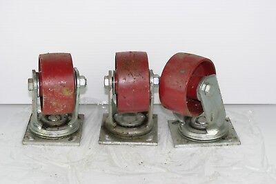 3 Hamilton 4 X 2 Industrial Swivel Steel Caster Wheels