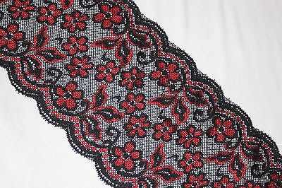 """Black Red floral lingerie stretch sewing DIY trim lace 6"""" wide BTY"""
