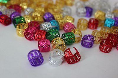 48 PCS Dreadlocks Bead Cuff Clip.Hair Decoration Filigree Tube Mixed Color 10mm