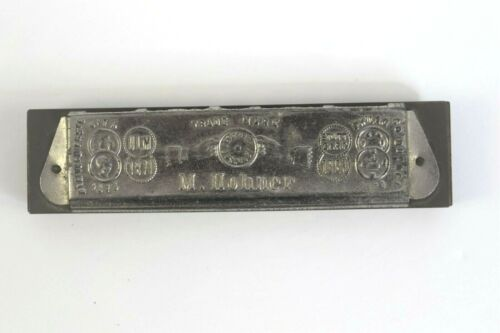Antique Harmonica M. Hohner Germany 10 Hole 6 Point Embossed Star Pre-1902 Key D