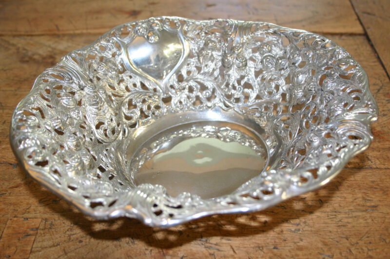 STUNNING Ornate Large Oval Silver Bowl