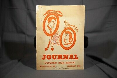 February 1945 Coughlin High School Journal, Mid Modern Screen Printed Cover Art Screen Printed Journal