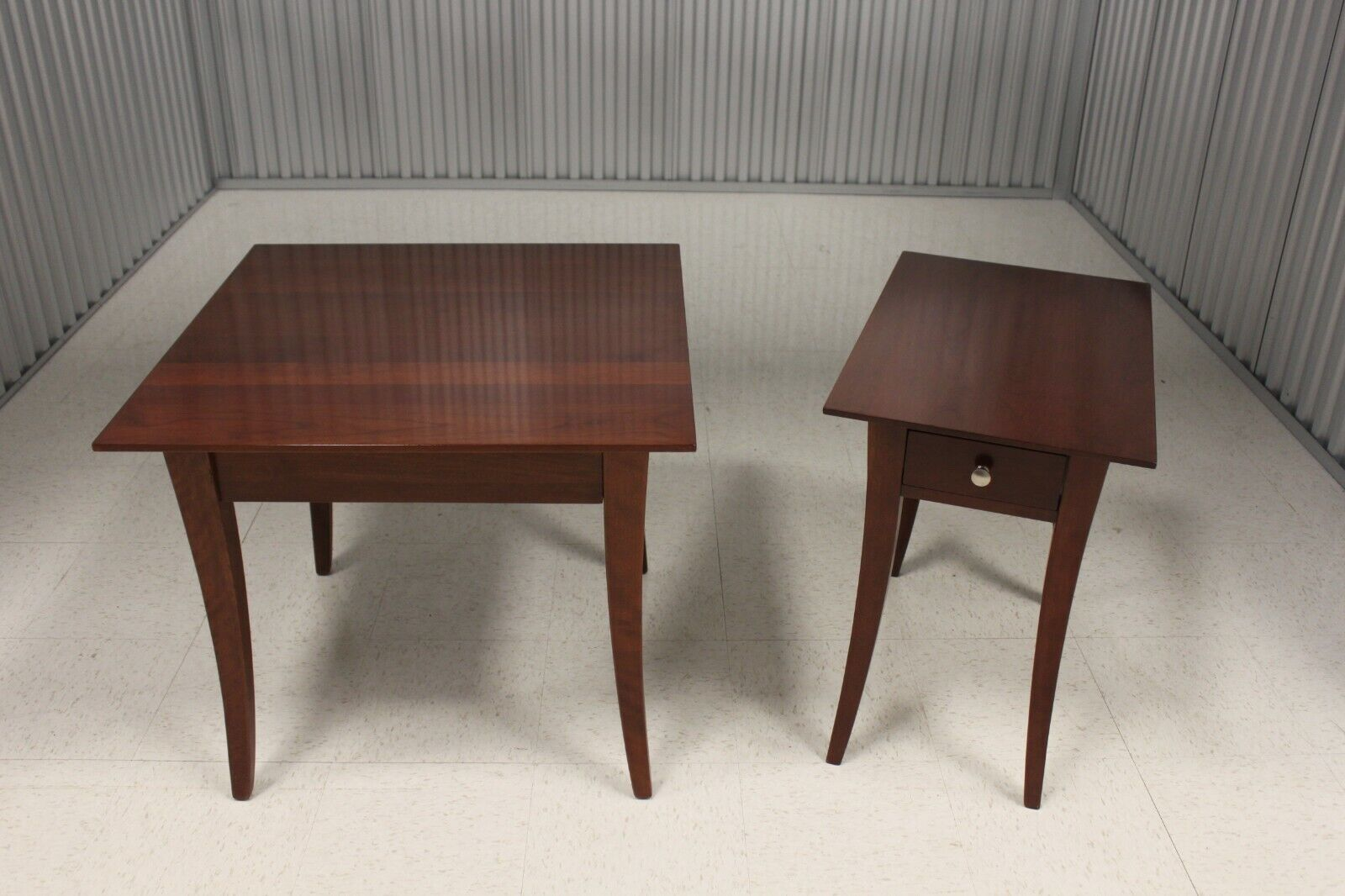 Pair Nichols Stone Modern Solid Cherry End Tables - $750.00