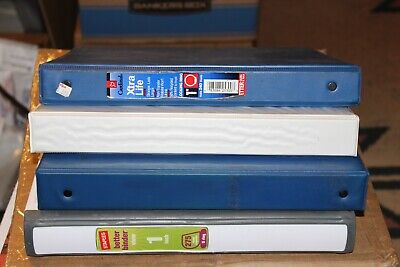 4 Four Assorted 3-ring Binders All Approx 1 In Great Used Condition Office