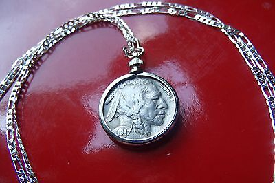 """Antique 1930's USA Buffalo Nickel COIN Pendant on 30"""" Sterling Silver Chain"""