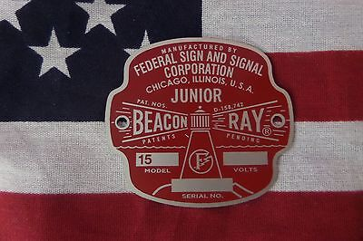 New Federal Sign And Signal Model 15a Junior Beacon Ray Replacement Badge