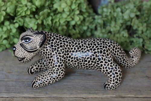 Black & Cream Jaguar Stalking Handmade Mayan Amatenango Chiapas Mexican Folk Art