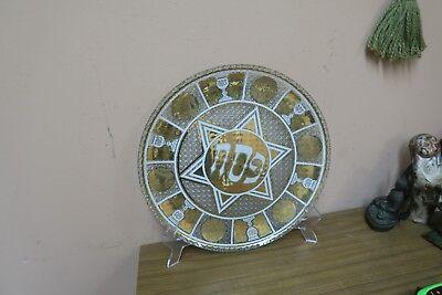 Antique Bohemian Vintage Cut Glass Crystal / Gold  Seder Plate 13.5