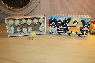 Vintage Spring Chickens Chenille Easter Chicks in Box Shanghai China