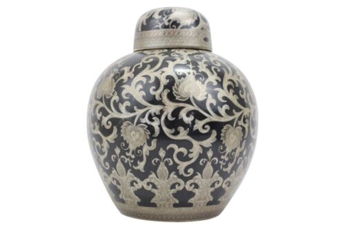 """Beautiful Black and Silver Tapestry Chinese Porcelain Round Ginger Jar 12"""""""