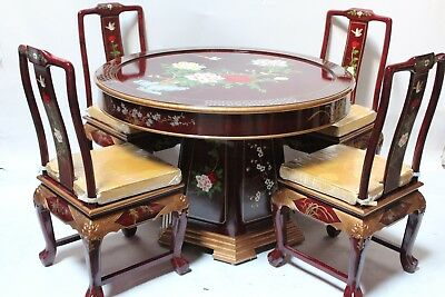 Oriental dining room set furniture dinettes burgundy lacquer ()