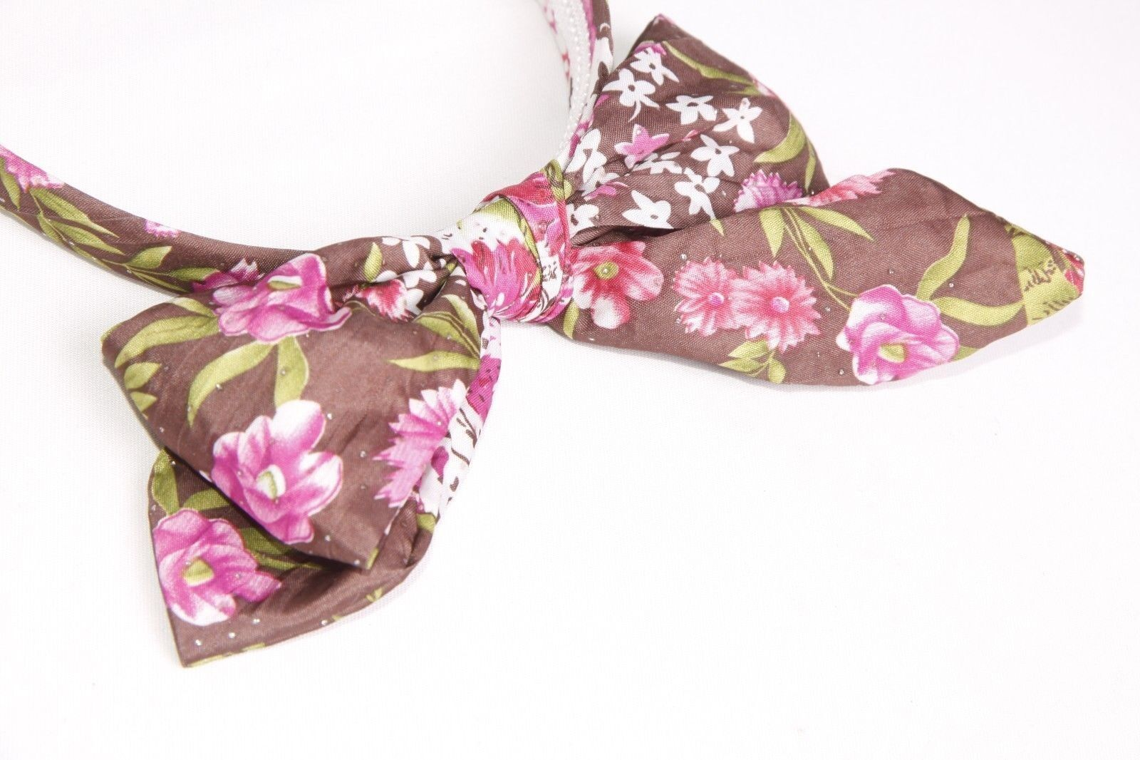 s143 Black Velour Wire Bow Front Girly Headband W Green Red /& Purple Flowers