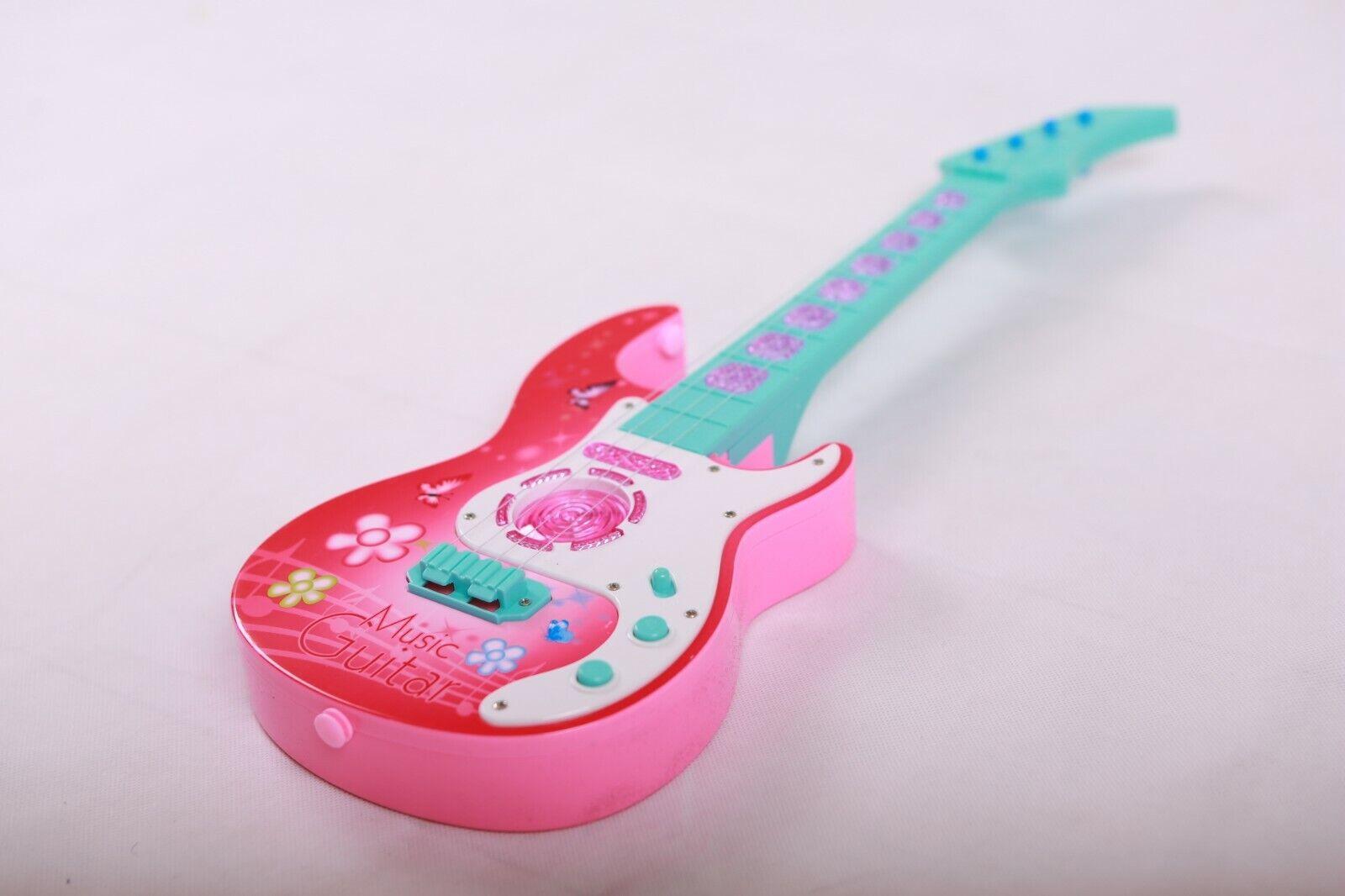 Kindergitarre Spielzeug Musik Gitarre 4 Saiten Instrument LED Licht&Sound Rosa