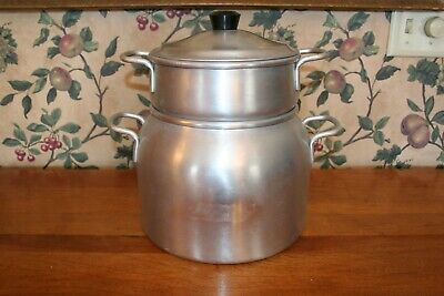 - VINTAGE WEAR-EVER ALUMINUM LARGE DOUBLE BOILER KETTLE W/ INSERT & LID #4355-1/2