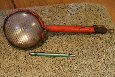 Old Orange Tractor Light With Clear Lens Stamped 924210 Long Mounting Rod