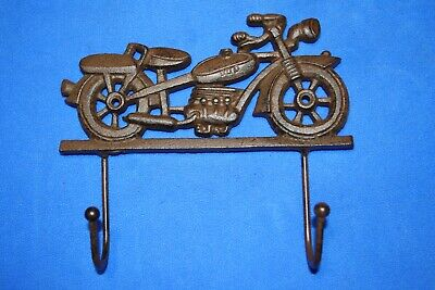 Gift For Him Vintage-Style Motorcycle Decor Cast Iron Wall Hooks, 8