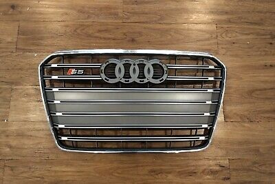 B8.5 AUDI S5 GRILLE 8T0853651P1RR SILVER  OEM 2013 2014 2015 2016 2017 NO RINGS