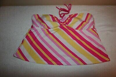 Nice Striped Pink Striped Tankini Top Full Coverage Isaac Mizrahi XXL Juniors