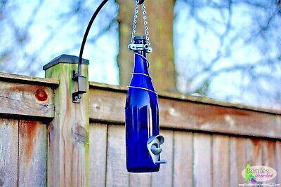Handmade Blue And Silver Glass Wine Bottle Bird Feeder - Garden Decor