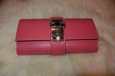 NEW HERMES Medor Clutch Rose Lipstick Silver Hardware Super Rare Color
