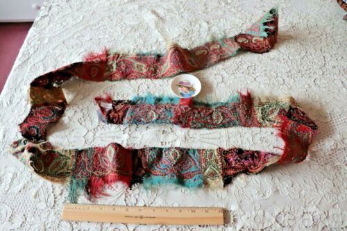 Antique Kashmir Wool Ethnic Hand Embroidered Shawl Trim Yardage c1840-50~93X3.5