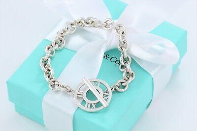 Tiffany & Co Silver Atlas Charm Toggle Circle Bracelet Pendant Link Chain Rare
