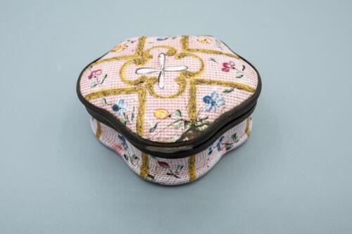 18th Century Antique Bilston & Battersea Pink Trinket Box, Flowers & Gold Enamel