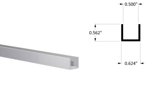 "Aluminum Channel: (5/8"" W x 9/16"" H x 1/16"") Fits 1/2"" Clear Anodized 3Ft Length"