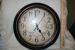 Benrus Old World Map Design Large 11 Wall Clock, Rich Browns, Quiet Movement -