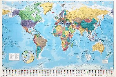 World Political MAP | Collections Poster Print, Country Flags Wall Decor 36x24in ()