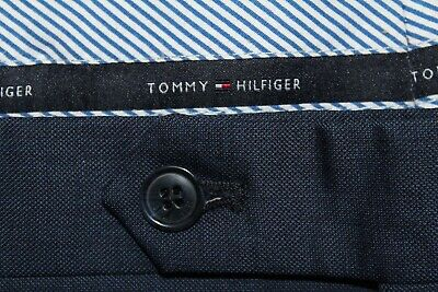 TOMMY HILFIGER Men's 40 X 32 Blue Worsted Wool Flat Front Dress Pants
