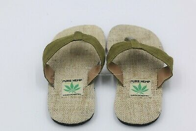 Mens Pure HEMP handmade Sandals ~ Casual flip flop sandal(Green Color)