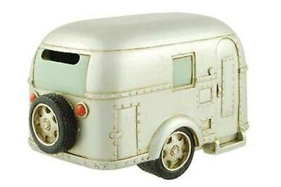 Coin Bank, Silver Vintage Travel Trailer Camper