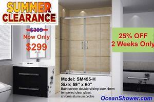 "60"" WIDE Bathtub Shower Screen Door No more Shower Curtain !!"