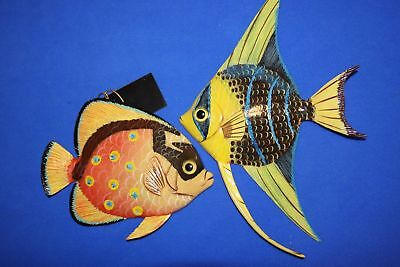 (2) Colorful Coral Reef Wall Decor 3-D Fish Vivid Colors Poly resin, 111 217