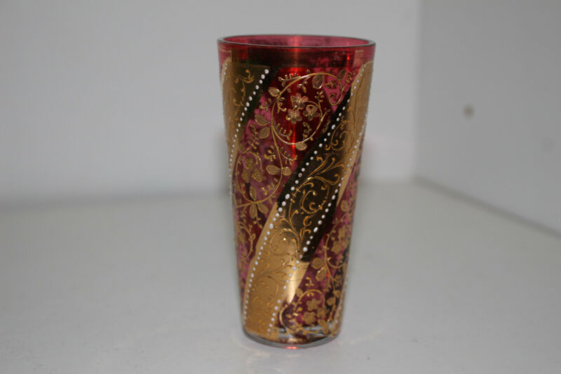 "ANTIQUE HAND PAINTED VICTORIAN 4"" CRANBERRY GLASS VODKA TUMBLER-GOLD-MOSER"