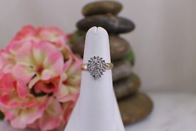 Pear Cluster Ring - Solid 10K Yellow Gold Cluster Pear Shaped Diamond Ring size 6