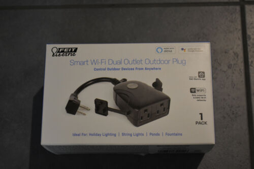 New- Open Box- Feit Electric Smart Wi-Fi Dual Outlet Outdoor Plug