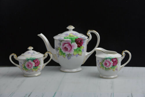 Gold China Teapot Cream & Sugar Roses Hand Painted  Made In Occupied Japan