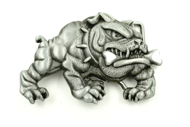 Bulldog w/ Bone Metal Novelty Belt Buckle