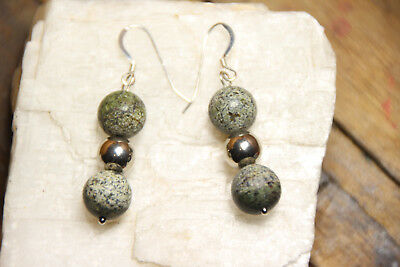 Gray Gemstone Earrings - Zebrastone 10mm Round Ball Gray Gemstone Earrings .925 Sterling Silver Hooks